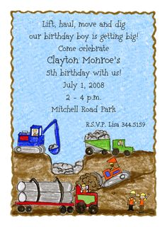 Construction Trucks Invitations-  These construction trucks are digging and moving dirt on this party invitation for boys. This scene features a bulldozer, backhoe, dump truck, and a flatbed truck as construction workers wave hello.