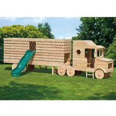 Amish Made 23x4 ft Wooden Semi Truck #Playground Set with #Slide