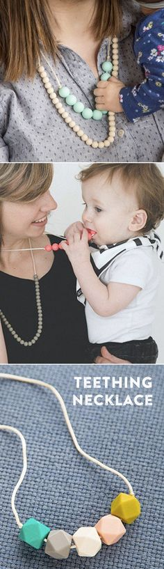 Statement necklaces that double as teething toys. Sophisicated-yet-soft silicone beads are safe for gumming, grabbing, and playing.