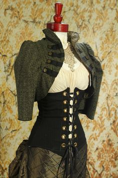 Fuzzy Green Cropped Steampunk Jacket by Damsel in this Dress