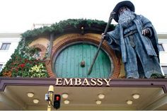 Giant Gandalf sculpture on the front of the Embassy Theatre for The Hobbit: An Unexpected Journey world premiere in Wellington, New Zealand