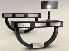 Deco design console table created in macassar ebony. Drawers of console in eel leather. Entry Furniture, Deco Furniture, Table Furniture, House Furniture, Consoles, Small Console Tables, Console Modern, Art Deco, Contemporary Furniture