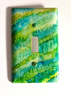 Alcohol Ink Switchplate Cover in Greens and Blues by CraftyColettes, on Etsy