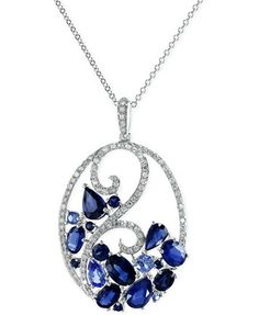 Sapphire (3-3/4 ct. t.w.) and Diamond (1/3 ct. t.w.) Pendant Necklace 14k White Gold | macys.com