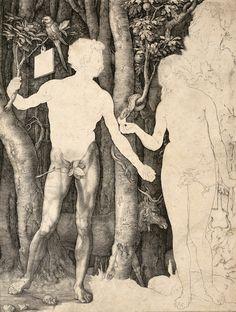 Albrecht Dürer, Adam and Eve (Copperplate engraving, second proof), 1504.