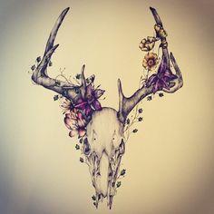 Home Design Drawing deer skull tattoo! Deer Skull Tattoos, Deer Skulls, Animal Skulls, Pretty Skull Tattoos, Animal Skull Drawing, Deer Hunting Tattoos, Ram Skull, Skull Art, Neue Tattoos