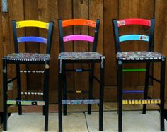 I had an old dining room table that needed some TLC. Instead of refinishing I decided to paint it. Soon people were asking me to do chairs for them..I have alot of fun doing these. I take custom orders only for the fun and funky hand painted chairs. No patterns are exactly alike but all look great together!  The Bar stools were a custom order Most chairs start @ $325   Please contact me to make a consultation  If you are located along I-25 in Colorado or New Mexico I will deliver if under a…