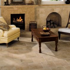 Check out this American Olean product: Oro Miele 12 x 12 in a brick pattern shown on the floor. 6 x 6, 10 x 14, 1 x 14 accent and 3 x 14 accent shown on the wall.