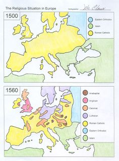 Protestant Reformation Map Blank | Religious Situation in Europe 1500 - 1560 Map Model