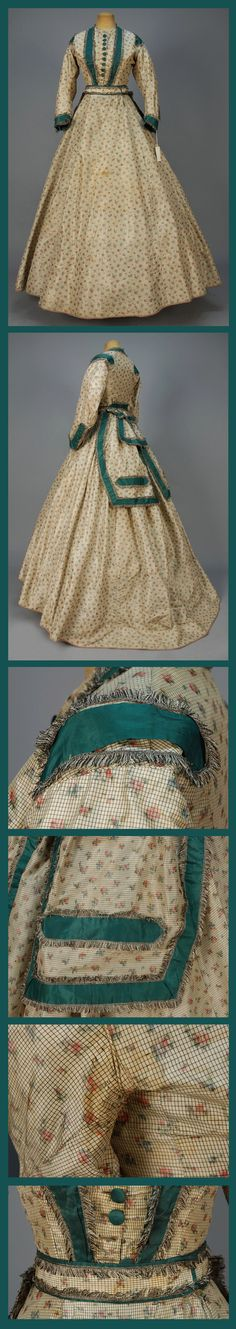 TRAINED WARP PRINTED SILK DRESS, c. 1865 Three-piece cream chine taffeta with tiny black windowpane and warp printed floral, bodice having fringed teal taffeta trim, belt with large peplum, undecorated skirt with buckram hem band. B-34, W-24, skirt front L-44, back L-58. (Skirt splits, mends and stains, bodice spots, stained under arms, missing one button) fair. Whitaker Auctions.