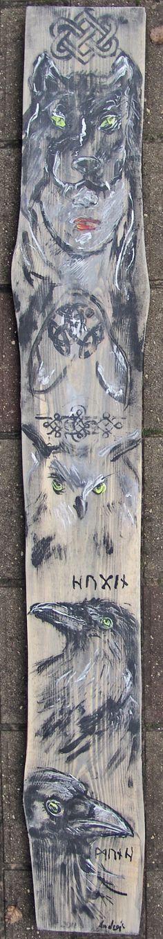 2016.11.13. Totem with wolfgirl, owl, Huginn and Muninn acrylic/wood desk, 126x16x2,5 cm https://www.facebook.com/andrey.bovtovich