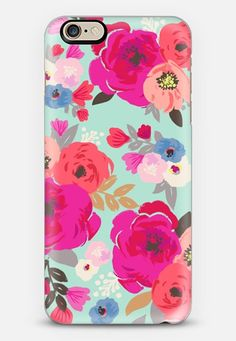 colorful floral aqua mint 6s iphone Case by Crystal Walen @casetify