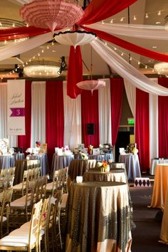 Ballroom decked out in Vintage Circus decor with dramatic drapes & hanging umbrellas   2012 Gala Recap » Get Hitched, Give Hope