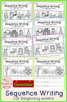 December Sequence Writing contains 30 pages of narrative prompts worksheets. This product is suitable for kindergarten and first grade students. Kindergarten | Kindergarten Worksheets | First Grade | First Grade Worksheets | Winter Sequence Writing Prompts | Sequence Writing Prompts | Writing Prompts Worksheets | Writing Prompts Literacy Centers | Writing Prompts Printables Kindergarten Literacy, Literacy Centers, Writing Centers, Preschool, Make Your Own Story, First Grade Worksheets, Teaching First Grade, Common Core Reading, Thing 1