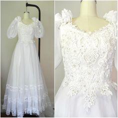 Vintage 1960s Eve of Milady White Chiffon Sheer Wedding Dress Size Xs S