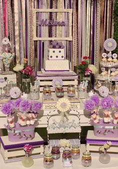 Pretty purple shabby chic birthday party! See more party ideas at CatchMyParty.com!