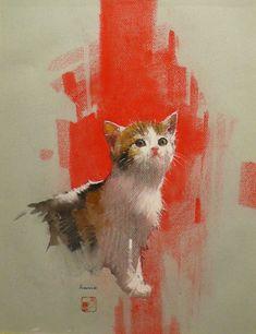 リトグラフや油絵などの絵画販売【ギャラリー風のたより】 / 土野 進「猫」パステル画