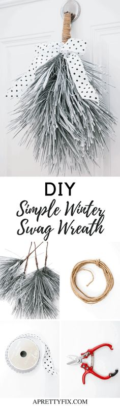 Create a simple and minimal winter swag wreath DIY that will extend well beyond the Christmas season. Affordable and simple, this door decor craft is a great alternative to a traditional wreath. Christmas Door Decorations, Christmas Wreaths, Christmas Crafts, Christmas Ideas, Modern Christmas, Holiday Ideas, Merry Christmas, Christmas Ornaments, Decor Crafts