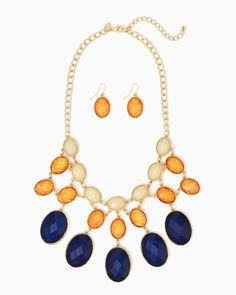 Confetti Cloud Tri-Tone Necklace Set | UPC: 410007418386 Tangerine, Orange, COTM