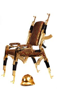 Inspiration struck and he combined his interests in design, technology and functionality with his love for furniture design to create a dramatic chair made up of rifles. Comprised of genuine, formally st Style And Grace, Furniture Design, Ak 47, Rifles, Chair, Luxury, Antiques, Create, Artist