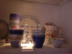 GreenGate Stoneware Audrey  Spot Indigo, Ivy Blue and Rosie White