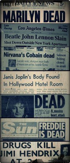 kurt cobain jimi hendrix john lennon Freddie Mercury Janis Joplin Elvis Presley marlyn monroe