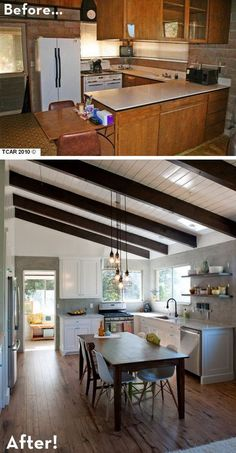 Before and After: a Rustic Modern Retreat. The family updated their 60s cinder block kitchen to a rustic modern reveal. With exposed beams, marble countertops, hardwood floors and a hand built farm table, they cut a lot of cost. I especially love the little blue hardware which add a fresh look to this rustic space.