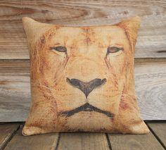 Animal Pillow Cover of Lion, Burlap Pillow, Throw Pillow, Cusion, African Decor, 16x16. $38.00, via Etsy.