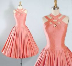 Pink Cotton Sundress ,Criss Cross Halter Top Neckline Party Dress