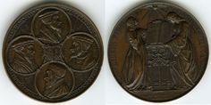 1835 Geneva Reformation Tercentenary Celebration Bronze Cast Medal Busts of Calvin, Viret, de Beze, Farel By Jean Antoine Bovy