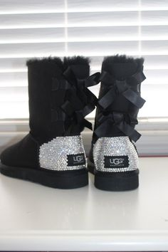 I just want a pair of these so bad!!!! #Custom Women #Ugg Australia Bailey Bow Boots made w Swarovski Crystal