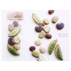 日本人のおやつ♫(^ω^) Japanese Sweets お豆クッキー。虎豆, サヤエンドウ, リアルですね〜!Beans Cookies // Petit entrepot 焼菓子屋さん