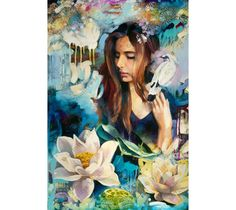 """Dimitra Milan's painting """"A Garden Enclosed"""" portrays beautiful flowers and a portrait of a girl."""