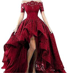 Women's Off Shoulder Lace Long Prom Dress High Low 2019 Plus Size Formal Evening Party Gown Burgundy 8 High Low Prom Dresses, Trendy Dresses, Elegant Dresses, Homecoming Dresses, Cute Dresses, Beautiful Dresses, Fashion Dresses, Short Sleeve Dresses, Dress Prom