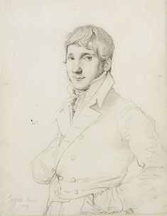 JEAN-AUGUSTE-DOMINIQUE INGRES (MONTAUBAN 1780-1867 PARIS), Portrait of a man in bust, turned to the left #auguste #bust #dominique #ingres #JEANAUGUSTEDOMINIQUE #Left #man #montauban #paris #portrait #turned Laura Lee, Portrait Au Crayon, Auguste, Portraits, Dominique, Daily Drawing, Gouache Painting, Expo, Old Master