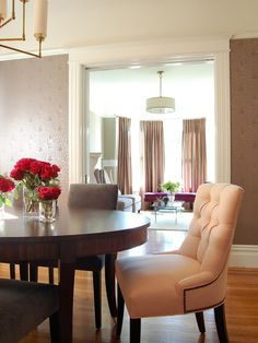 The transitional nature of this dining and living rooms makes it easy to flow from room to room.