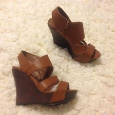Tan strap thick wedge sandals heels cross-cross Tan strap thick wedge sandals heels cross-cross by CHARLOTTE RUSSE Steve Madden Shoes Platforms