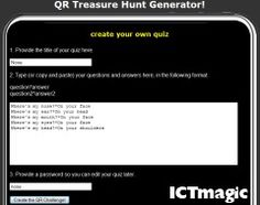 This site creates QR code treasure hunts. Just enter your questions, answers and a title and the site generates the code for you to print.