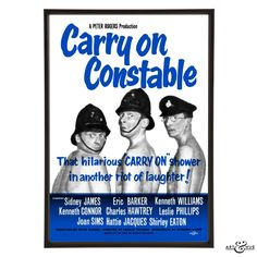 Pop art re-imagining of the Carry On Constable poster featuring Kenneth Williams,Charles Hawtrey & Kenneth Connor on fine art archival cotton card of 301gsm