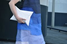 [ Lizzie Lo ] : feeling blue [MMM shoe bag as mask  +  Fendi SS14 tiered dégradé silk organza layered dress  +  APCLPSO clutch  +  Maison Martin Margiela 20 years cowgirl dégradé boots]