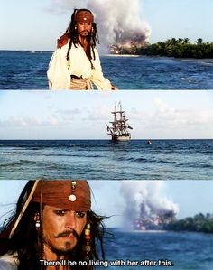 """Pirates of the Caribbean: The Curse of the Black Pearl - """"There'll be no living with her"""" Disney And Dreamworks, Disney Pixar, Walt Disney, Johny Depp, Captain Jack Sparrow, Pirate Life, Disney Love, Disney Magic, Pirates Of The Caribbean"""