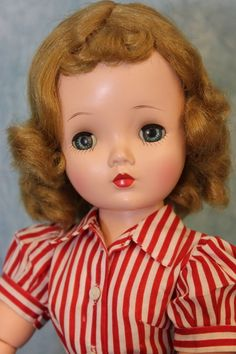 """20"""" Madame Alexander 1950's Cissy Doll Wearing Tagged Red White & Blue Dress"""