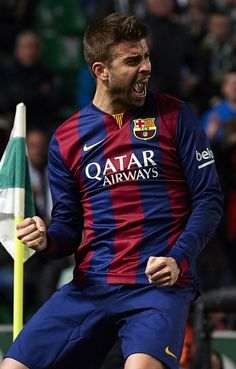 Gerard Pique of Barcelona celebrates after scoring during the La Liga match between Elche FC and FC Barcelona at Estadio Manuel Martinez Valero on January 24, 2015 in Elche, Spain.
