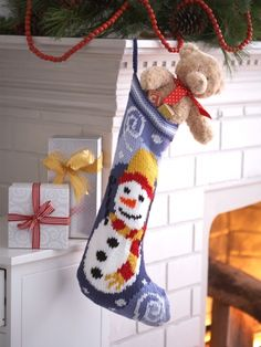 Free Knit Pattern - Not your traditional knit stocking, this one has a fun and colorful snowman design, promising an exciting start to your holiday. Make it as-is or incorporate designs and colors inspired by your holiday decor.