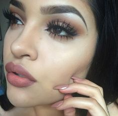 Kylie look.. Follow! Pinterest: @ cheyennekennedy face for dark hair and eyes - nude lips, brown shadow, big lashes no liner