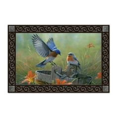 Bluebird Landing Matmate Doormat by Magnet Works, Ltd.. $19.99. Weatherproof for outdoor or indoor use.. Vibrant colors, fade-resistant doormats.. Made with non-slip recycled rubber.. Use MatMates alone or with the stunning decorative tray.. MAIL15754 Features: -Material: Recycled rubber.-With a non woven polyester face.-Weatherproof.-For indoor/outdoor use.