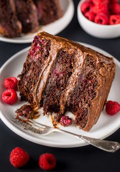 This Triple Layer Chocolate Raspberry Cake is a SHOWSTOPPER! Top with fresh raspberries for an extra lovely presentation.