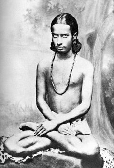 """Picture: Paramhansa Yogananda (Mukunda) at sixteen. Mukunda's meditations were not what one might expect of a little boy. For one thing, he would often meditate for long hours—seven, eight at a time. As he told me, """"I would practice Hong-Sau (a meditation"""