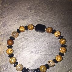 Fashion Jewelry Anklet 6mm Yellow Dragon Vein Beads Silver Tone Lucky Budha Charm Bail Spacers