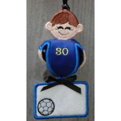 In The Hoop :: Ornaments :: Soccer Player Jingler - Embroidery Garden In the Hoop Machine Embroidery Designs